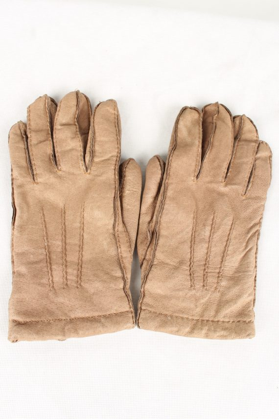 Vintage Unisex Faux Leather Gloves 90s Size 8.5 Brown G133-0