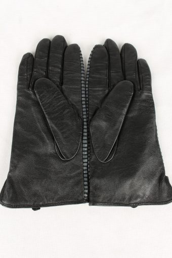 Vintage Womens RSL Faux Leather Gloves 90s Size 7.5 Black G139-146566