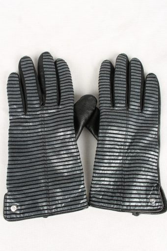 Vintage Womens RSL Faux Leather Gloves 90s Size 7.5 Black