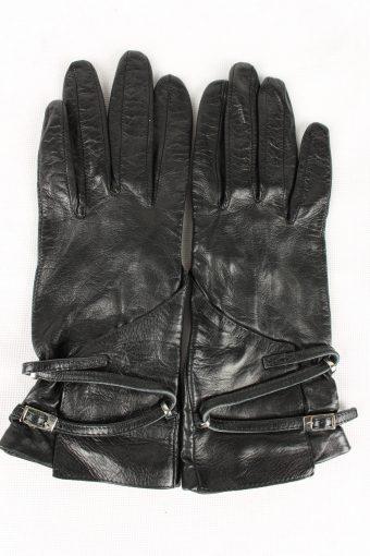 Vintage Womens Leather Gloves 90s Black