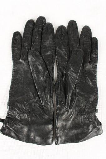 Vintage Womens Leather Gloves 90s Black G190-146778