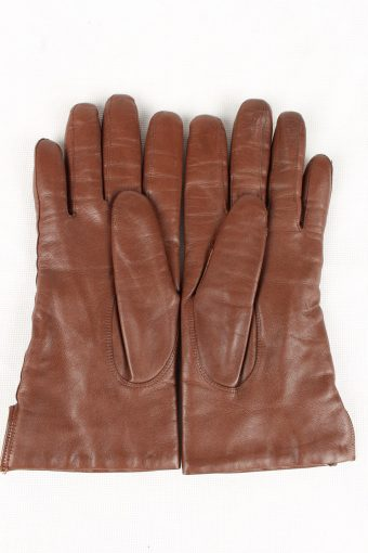 Vintage Womens Wool Lined Gloves 90s Brown G192-146786