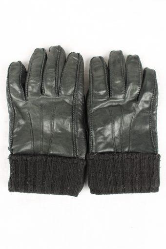 Vintage Mens Lined Gloves 80s Black