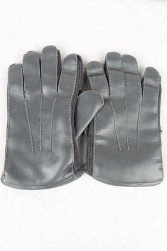 Vintage Mens Lined Gloves 80s Grey