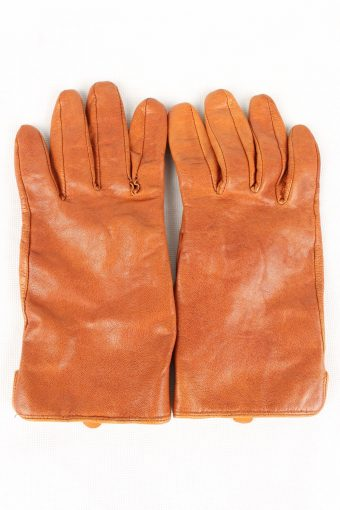 Vintage Womens Genuine Leather Gloves Size 80s L Brown