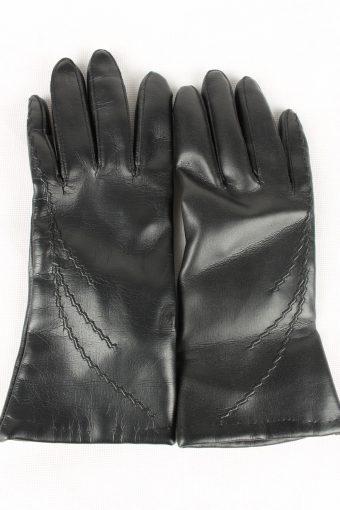 Vintage Womens Lined Gloves Size 80s 8 Black