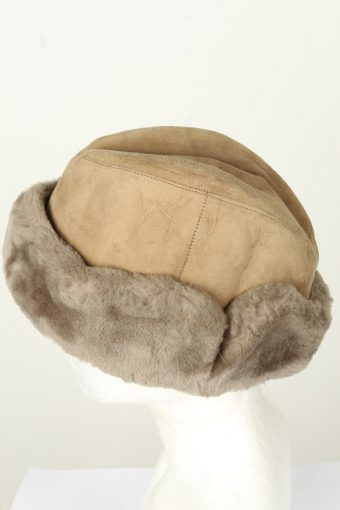 Vintage Unisex Russian Style Winter Leather Hat 80s Brown HAT1531-145631