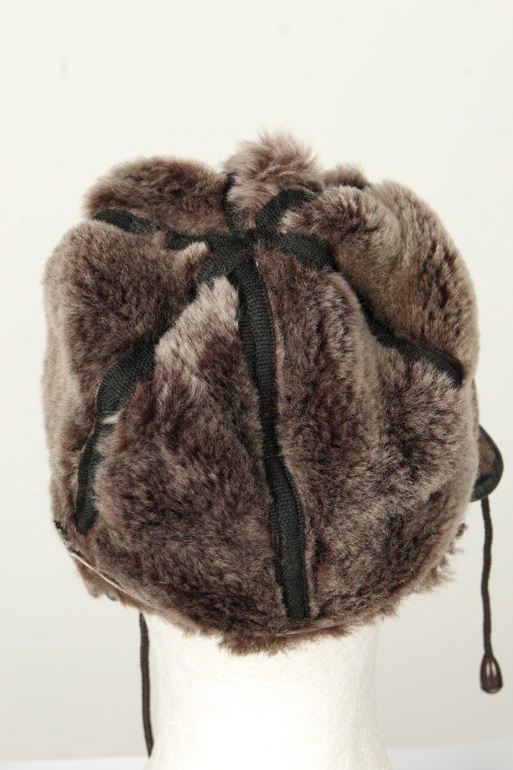 Vintage Unisex Russian Style Winter Hat Chapka 70s Brown HAT1578-145855