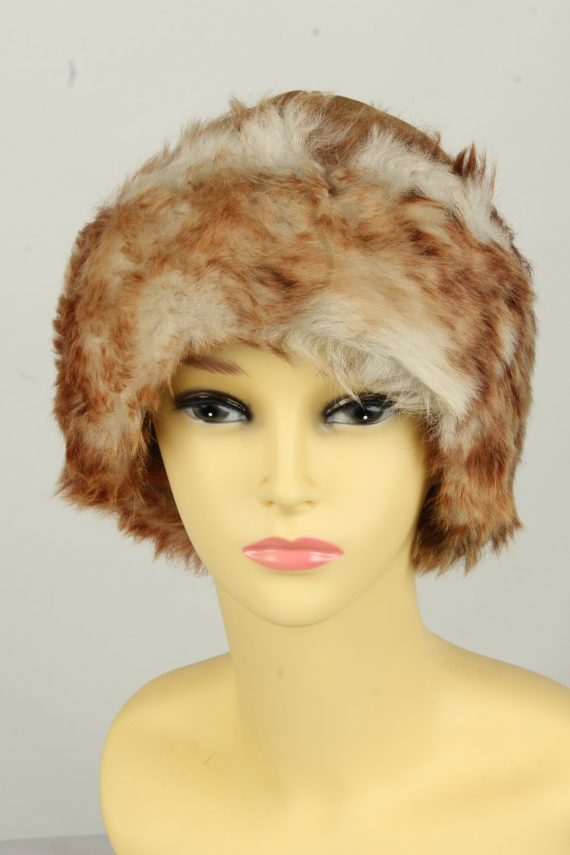 Vintage Womens Canadian Style Winter Hat 90s Brown HAT1596-0