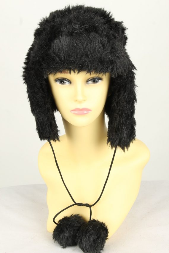 Vintage Womens Canadian Style Winter Hat 90s Black HAT1600-0
