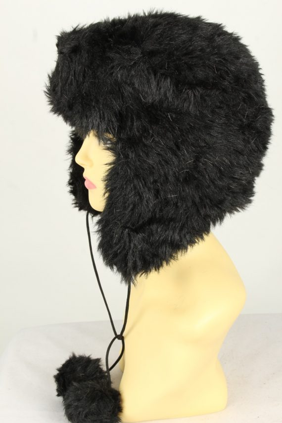 Vintage Womens Canadian Style Winter Hat 90s Black HAT1600-145944
