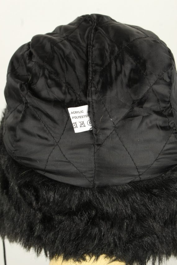 Vintage Womens Canadian Style Winter Hat 90s Black HAT1600-145946