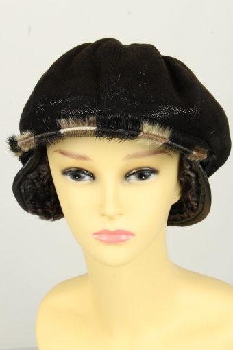 Vintage Womens Shiny Faux Fur Lining Winter Hat Cap