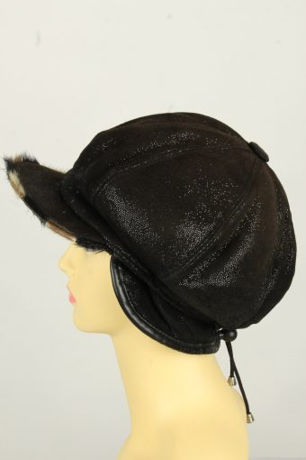 Vintage Womens Shiny Faux Fur Lining Winter Hat Cap 90s Black HAT1602-145952
