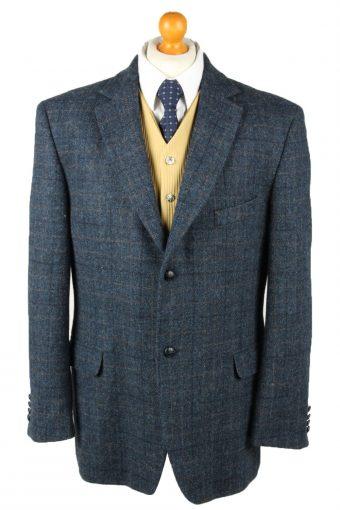 Harris Tweed Blazer Jacket Classic Windowpane Blue XXL