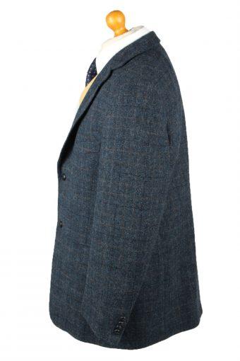 Vintage Harris Tweed Window Pane Blazer Jacket 60s Size 28 Blue HT2888-145563