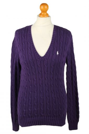 Polo Ralph Lauren Womens V Neck Jumper 90s Purple L