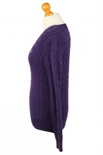Vintage Polo Ralph Lauren Womens V Neck Jumper 90s L Purple -IL2106-145220