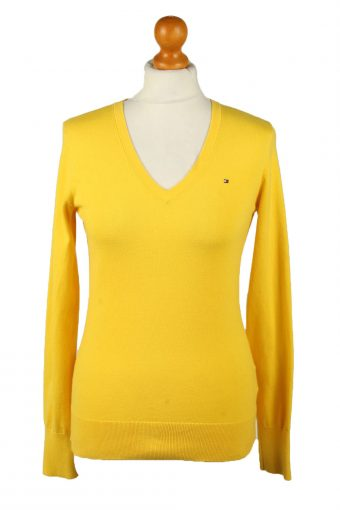 Tommy Hilfiger Womens V Neck Jumper 90s Yellow M
