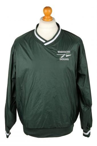 Baseball USA College V Neck Pullover Windbreaker 90s Green S