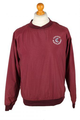 Baseball USA College V Neck Pullover Windbreaker 90s Bordeaux L