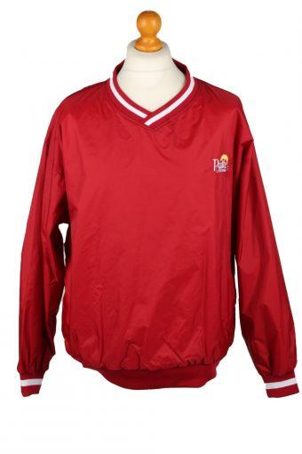 Baseball USA College V Neck Pullover Windbreaker 90s Red XL