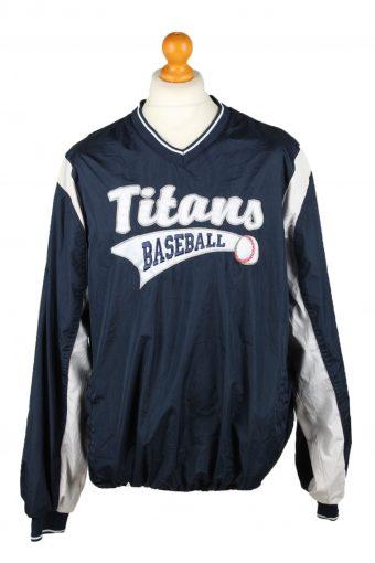 Baseball USA College V Neck Pullover Windbreaker 90s Navy XL