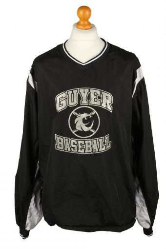 Baseball USA College V Neck Pullover Windbreaker 90s Black XXL