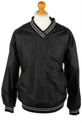 Baseball USA College V Neck Pullover Windbreaker 90s Black M