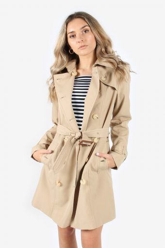 Burberry Vintage Women's Double Breasted Trench Coat Overcoat Beige Size 16