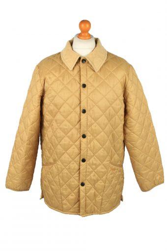 Vintage Barbour Mens Quilted Jacket Coat L Gold
