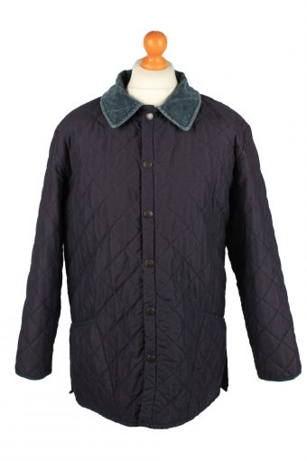 Vintage Barbour Mens Quilted Jacket Coat XL Navy