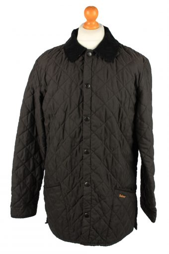 Vintage Barbour Mens Quilted Jacket Coat S Black