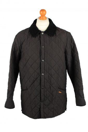 Vintage Barbour Mens Quilted Jacket Coat L Black