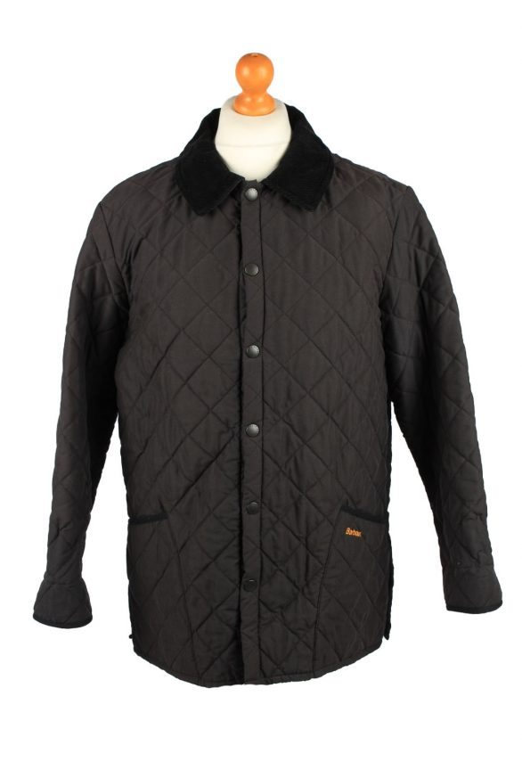 Vintage Barbour Mens Quilted Jacket Coat L Black -C2125-0