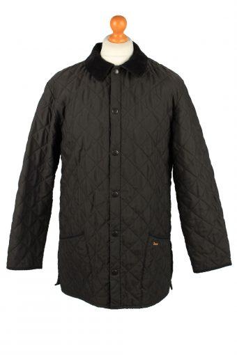 Vintage Barbour Mens Quilted Jacket Coat M Black