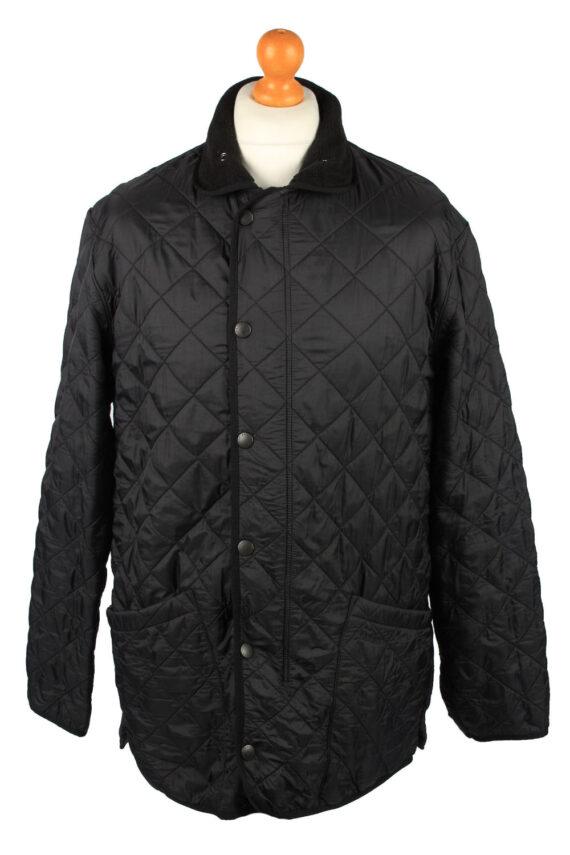 Vintage Barbour Mens Quilted Jacket Coat L Black -C2128-0