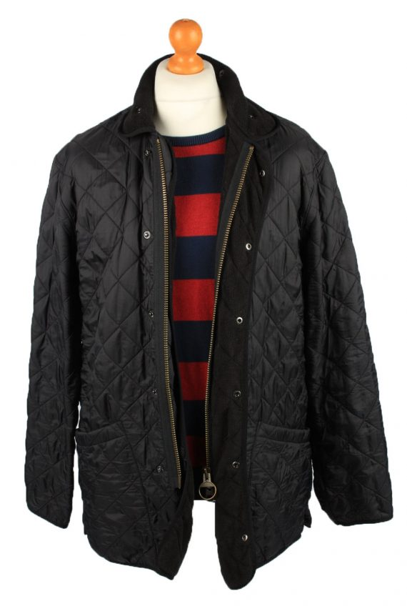 Vintage Barbour Mens Quilted Jacket Coat L Black -C2128-147661