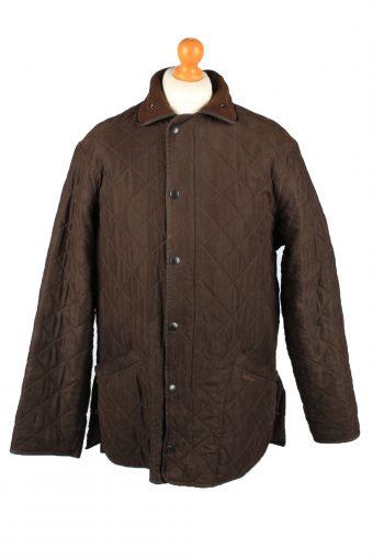 Vintage Barbour Mens Quilted Jacket Coat L Brown