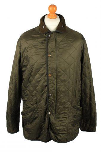 Vintage Barbour Mens Quilted Jacket Coat L Green