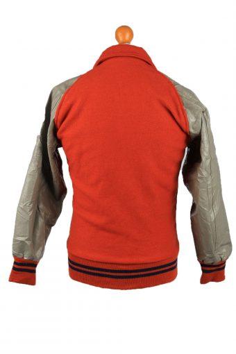 """Vintage Wool Unisex Baseball Bomber Jacket 90s M Chest 39"""" Orange -C2165-147917"""