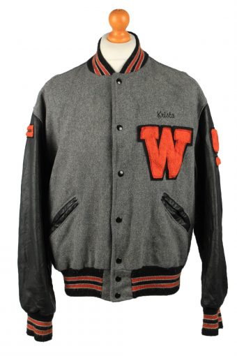 Vintage Wool Unisex Baseball Bomber Jacket 90s L Grey