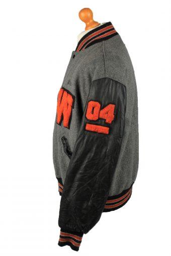 Vintage Wool Unisex Baseball Bomber Jacket 90s L Grey -C2166-147920
