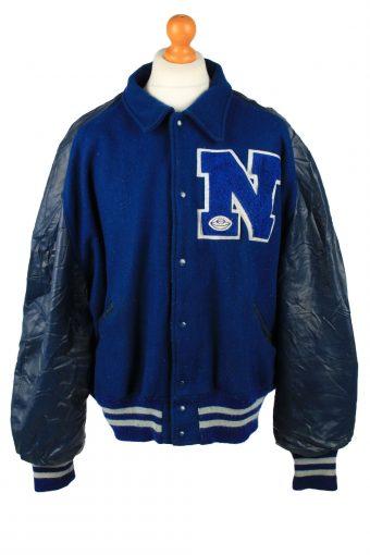 Vintage Wool Unisex Baseball Bomber Jacket 90s 3XL Navy
