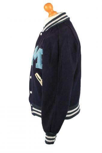 Vintage Wool Unisex Baseball Bomber Jacket 90s 36 Navy -C2178-147968