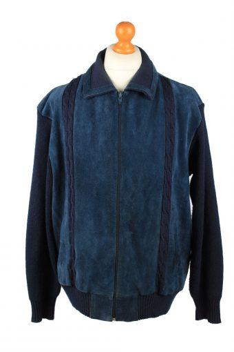 Vintage MC Coy Mens Suede Leather Jacket Jumper 80s 54 Navy