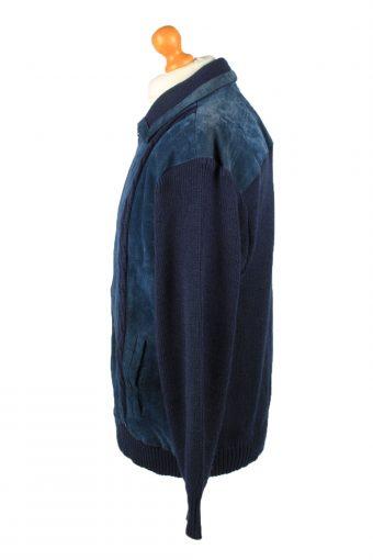 Vintage MC Coy Mens Suede Leather Jacket Jumper 80s 54 Navy -C2181-147981