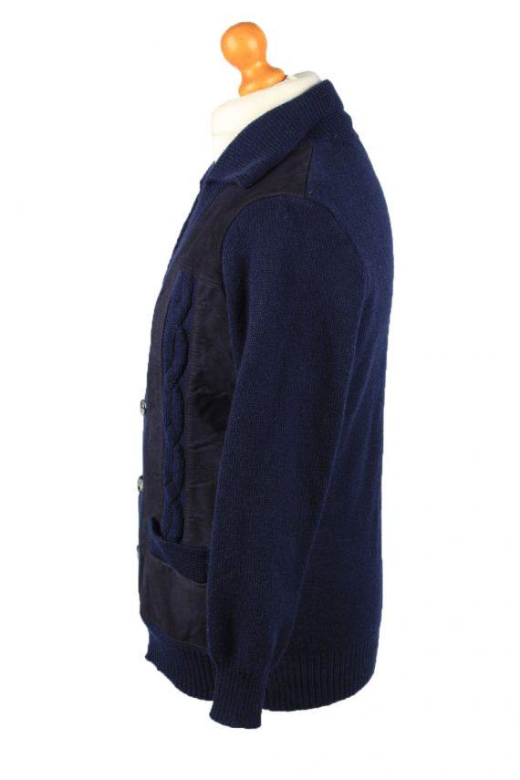 Vintage Pierre Sangan Mens Jacket Cardigan L Navy -C2189-148013