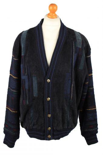 Vintage C&A Mens Jacket Cardigan 80s XL Navy