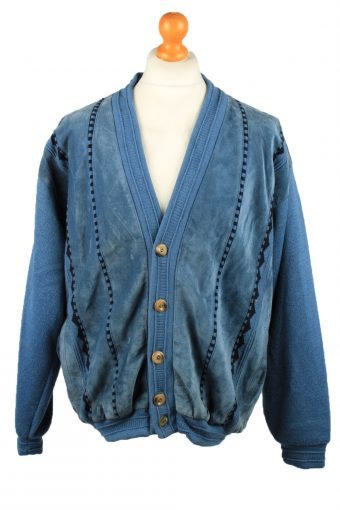 Vintage Oncle Tom Mens Jacket Cardigan 80s 3XL Chest 51 in Blue